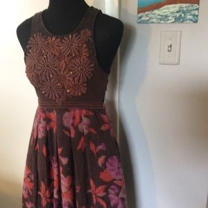 Free People A Line Wool and Embroidery Dress S/P